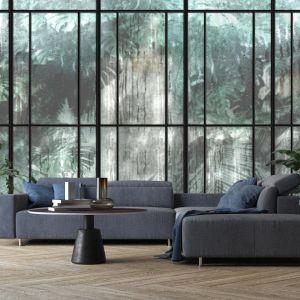 Pomysł na ścianę w salonie - tapeta artystyczna. Tapeta The Rainforest. Marka: Walltime