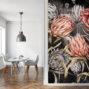 Pomysł na ścianę w salonie - tapeta artystyczna. Tapeta Prometeo. Marka: Walltime