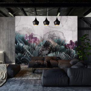 Pomysł na ścianę w salonie - tapeta artystyczna. Tapeta Amaryllis. Marka: Walltime