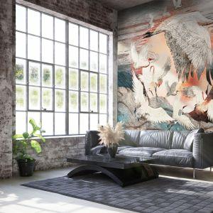Pomysł na ścianę w salonie - tapeta artystyczna. Tapeta Dance of Cranes. Marka: Walltime