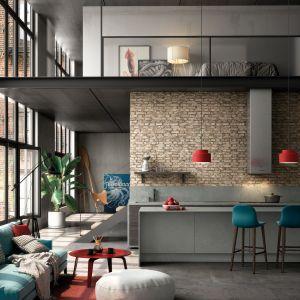 Styl industrialny, loftowy we wnętrzach. Na zdjęciu konglomerat Silestone Camden, kolekcja Loft. Fot. Cosentino
