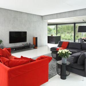 Czerwona sofa doskonale pasuje do nowoczesnego, szarego salonu. Projekt: Hanna i Seweryn Nogalscy, Beton House. Fot. Bartosz Jarosz