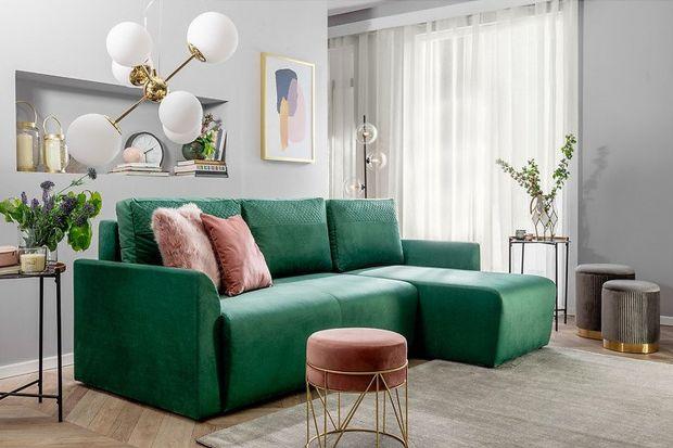Sofa do salonu: świetny narożnik z funkcją spania. Zobacz go!