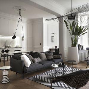 Salon w czarno-białej palecie barw. Projekt Goszczdesign fot. Piotr Mastalerz
