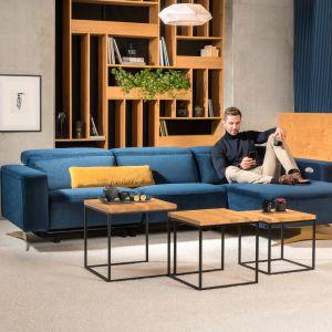 Niebieski narożnik Sonore z funkcjami relaksu w wersji Smart. Fot. Kler