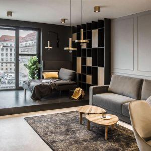 W salonie główną rolę odgrywają ciemne kolory i stylowe dodatki. Projekt i zdjęcia: studio Mauve