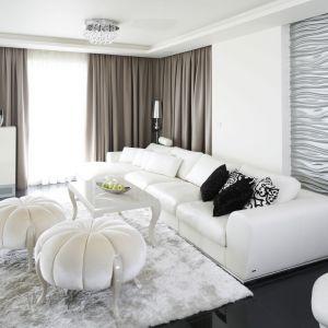 Puszysty dywan w białym kolorze pięknie wygląda w jasnym salonie. Projekt: Katarzyna Uszok. Fot. Bartosz Jarosz