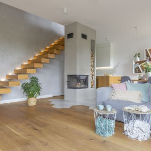 Jak łączyć ściany i podłogę w salonie. Solidną bazę aranżacji tworzy beton i drewno. Projekt: Zu Projektuje. Fot. Pion Poziom