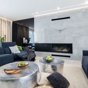 Płytki jak beton na ścianie w salonie prezentują się niezwykle efektownie. Projekt Dariusz Grabowski. Fot. Bartosz Jarosz