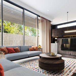 Salon w domu jednorodzinnym powinien być przestronny i wygodny. Projekt i zdjęcia ZUP-a.