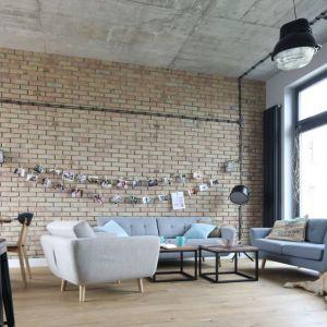 Ścianę w salonie zdobi jasna cegła. Projekt: Maciejka Peszyńska-Drews. Fot. Bartosz Jarosz