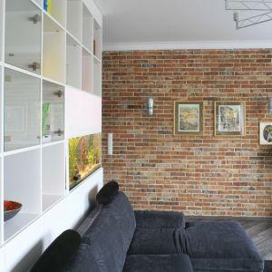Ściana w małym salonie wykończona cegłą. Projekt: Agnieszka Ludwinowska, Marta Sękulska. Fot. Bartosz Jarosz