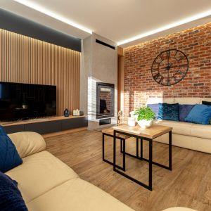 Ścianę za telewizorem w salonie zdobią drewniane panele. Projekt: Anna Kamińska, Fuxja Studio Projektowe. Fot. Alla Boroń