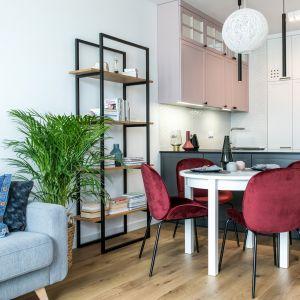 Mały salon z jadalnią między kuchnią a salonem. Projekt Deer Design