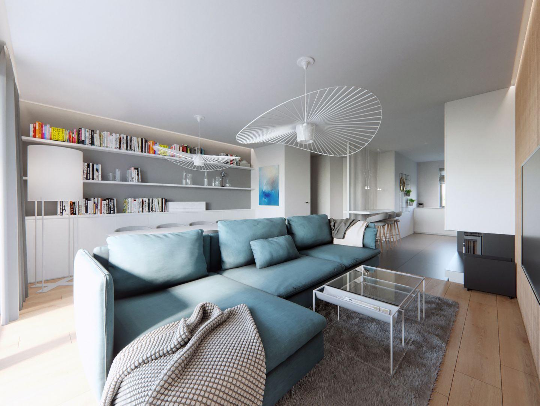 Pomysł na jasny i elegancki  salon. Projekt i zdjęcia: Naboo Studio