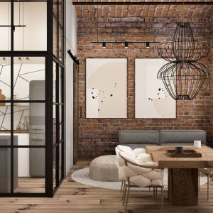 Czerwona cegła podkreśla stylistykę loft. Projekt i zdjęcia Nowa Papiernia