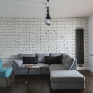 Biała cegła na ścianie za kanapą w salonie. Projekt i zdjęcia MAFGROUP