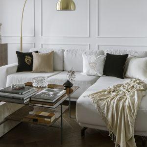 Z ciemną podłogą pięknie kontrastują nie tylko ściany, lecz także rozłożysta jasnobeżowa kanapa i korespondujący z nią kolorystycznie stolik kawowy. Projekt Kate&Co. Mieszkanie Koneser . Fot.YassenHristov