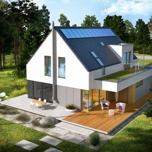 Adam G2 Energo Plus to to nowoczesny dom, który zachwyca skromnością, elegancją i szerokimi przeszkleniami. Projekt: pracownia Archipelag