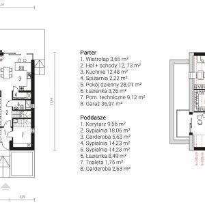 Rozkład pomieszczeń na parterze i na poddaszu. Projekt: pracownia Archipelag