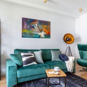 Ściana za kanapą w salonie - biała farba i piękny kolorowy obraz. Projekt: Decoroom. Fot. Pion Poziom