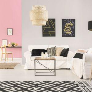 Barwa Szare wytchnienie z palety Jedynka Deco & Protect Zmywalna świetnie sprawdzi się w eleganckim wnętrzu, stanowiąc dobre tło dla dodatków, takich jak oryginalna lampa na drewnianych nogach czy czarno-złote grafiki. Fot. Jedynka