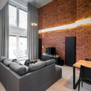 W salonie ogromne wrażenie robi ściana ozdobiona ręcznie wykonaną cegłą w kolorze czerwieni, która świetnie pasuje do szarości i do drewna. Projekt i zdjęcia: Monika Staniec
