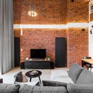 Wysoki sufit sprawia, że salon jest bardzo jasny i bardzo przestronny. Projekt i zdjęcia: Monika Staniec