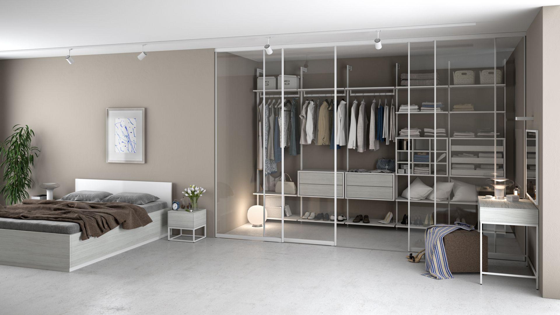 Komandor proponuje do takich wnętrz rozwiązania hybrydowe – połączenie szafy i garderoby, co pozwala optymalnie wykorzystać np. narożnik pokoju. Fot. Komandor
