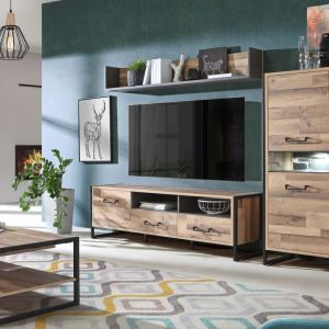 Meble do salonu w kolorze drewna z kolekcji Hud dostępne w ofercie firmy Meble Forte. Fot. Meble Forte