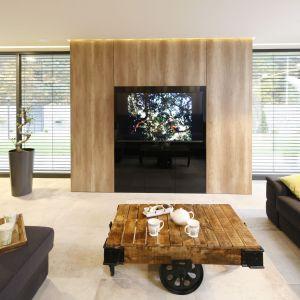 Telewizor prezentuje się niezwykle efektownie na tle drewnianej zabudowy. Projekt Dariusz Grabowski. Fot. Bartosz Jarosz