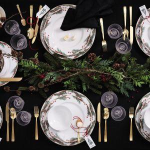 Kolekcja luksusowej porcelany stołowej Aida, której najnowsza dekoracja inspirowana jest tradycyjną kolorystyką Bożego Narodzenia i pięknem przyrody. Fot. Rosenthal