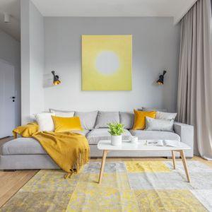 Ściana za kanapą w salonie została wykończona jasną, szarą farbą. Na jej tle pięknie wygląda obraz artystki Magdaleny Kossakowskiej w żółtym kolorze. Projekt i zdjęcia: Renata Blaźniak-Kuczyńska/Renee's Interior Design