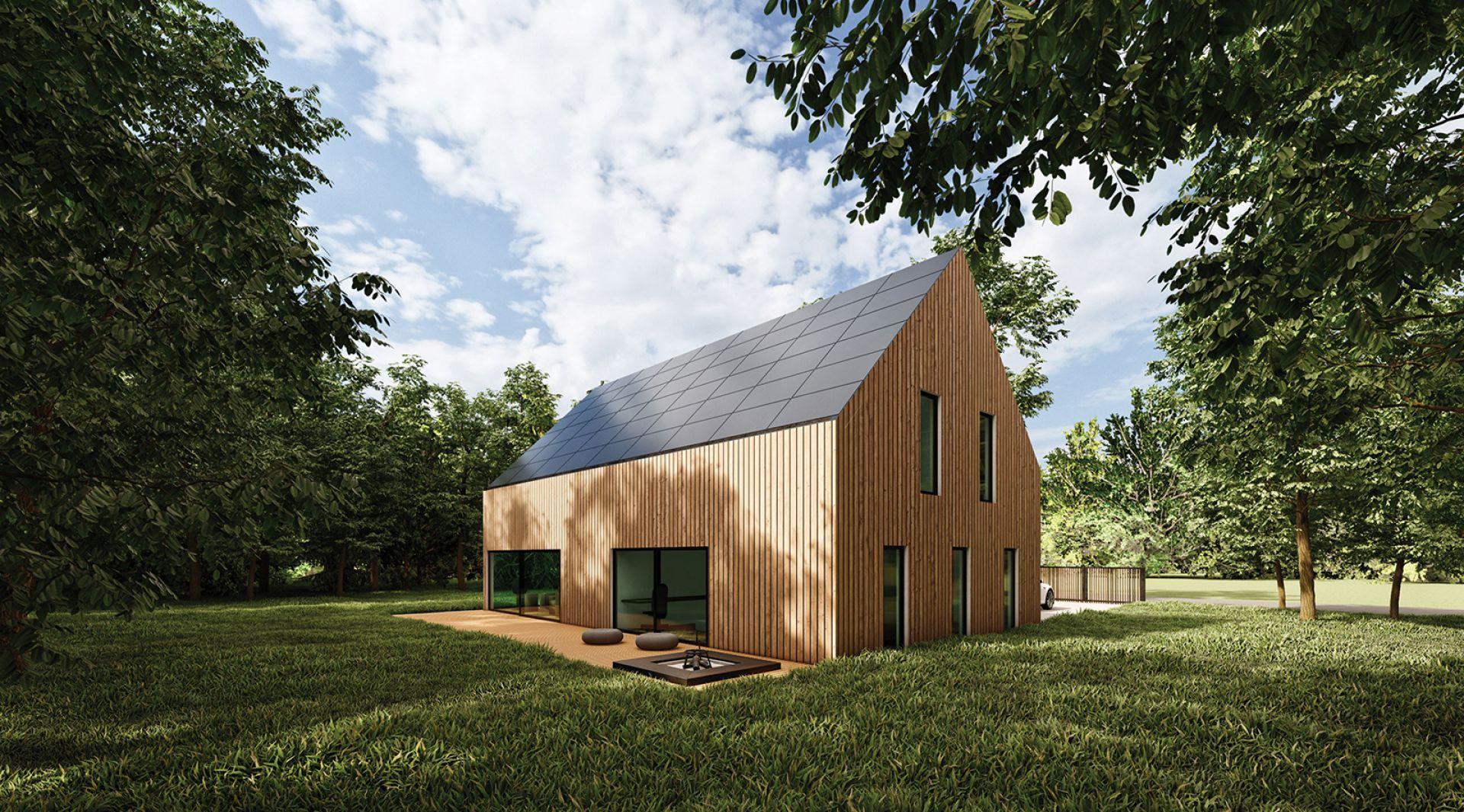 """Stylistyka domu nawiązuje do """"nowoczesnej stodoły"""" oraz modernistycznych zasad przenikania wnętrza z zewnętrzem. Fot. mat. prasowe SunRoof"""
