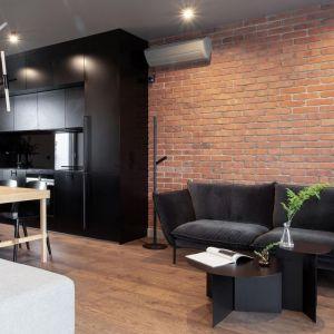 Ścianę za kanapą w salonie zdobi cegła w czerwonym kolorze. Pięknie łączy się z drewnem oraz z czarnym kolorem. Projekt: Kreacja Przestrzeni. Fot. Hubert de Jakusz-Gostomski