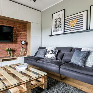 Czerwona cegła na ścianie za telewizorem pięknie łączy się z drewnem, ponadczasową bielą oraz modnymi szarościami. Projekt: Urszula Chojnowska. Fot. Elżbieta Toczyłowska (Kreacje Domowe)