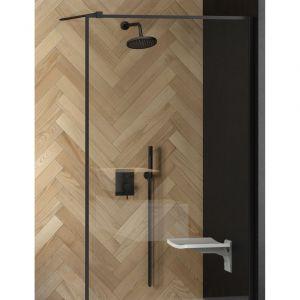 Podtynkowy zestaw prysznicowy Decco Illusion w czarnym kolorze. Fot. Besco