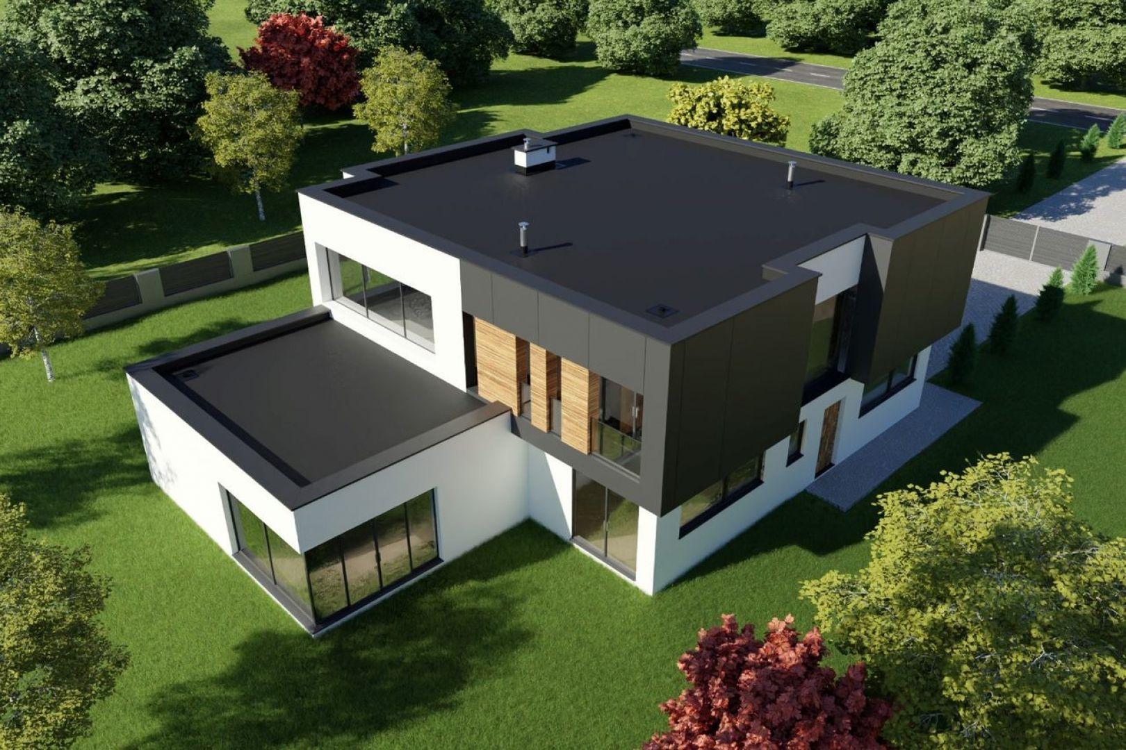 """Nie można nie zauważyć rosnącej popularności projektów domów z dachami płaskimi """"solo"""" lub razem z prostym pokryciem dwuspadowym. Fot. Galeco"""