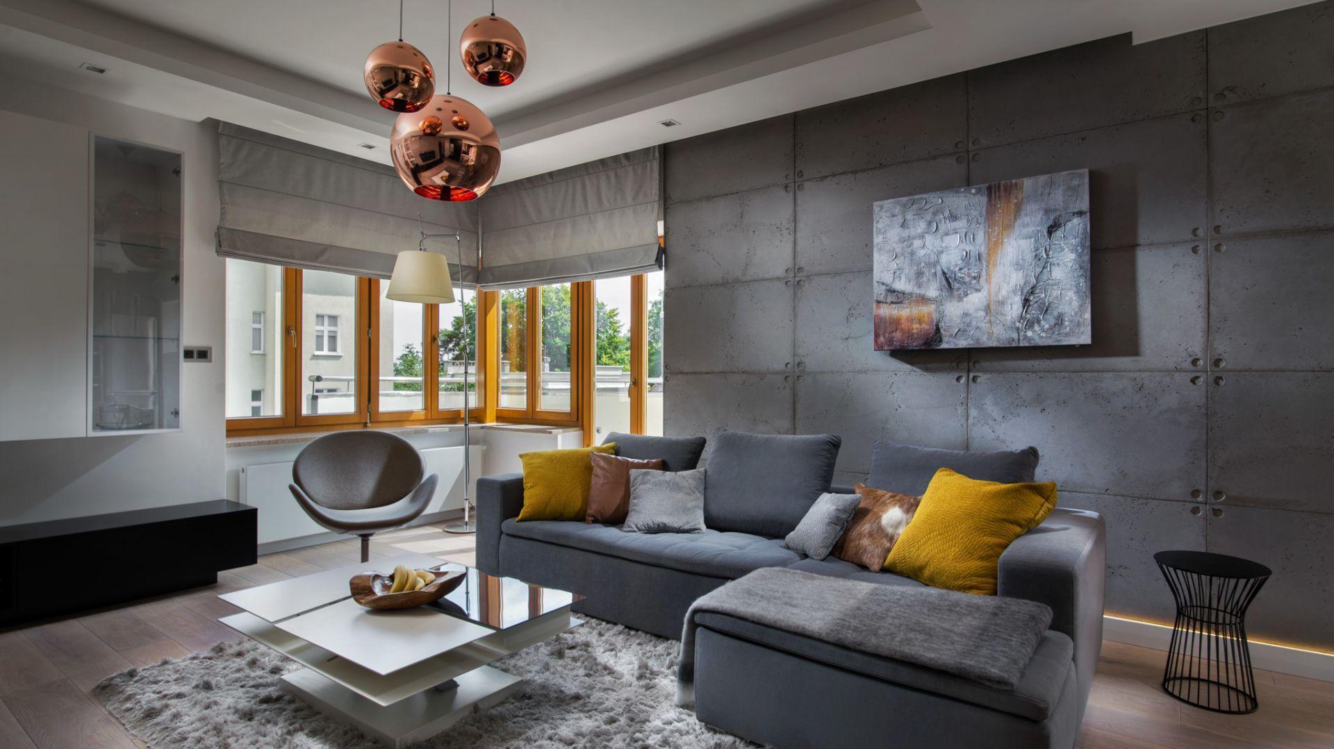 Pomysł na ścianę za kanapą w salonie - beton na ścianie. Projekt: Agnieszka Hajdas-Obajtek. Fot. Wojciech Kic