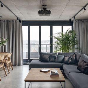 Szare zasłony piękne zdobią okno i nadają salonowi elegancki klimat. Projekt: BLACKHAUS Karol Ciepliński Architekt. Fot. Tom Kurek