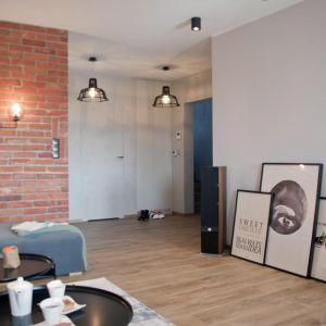 Ściana w salonie została przygotowana pod montaż projektora. Projekt: Ewelina Mikulska-Ignaczak, Mikulska Studio. Fot. Jakub Ignaczak, K1M1