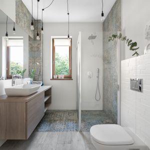Delikatna kabina prysznicowa nie zaburza estetyki łazienki. Projekt: MM Architekci. Fot. Jeremiasz Nowak
