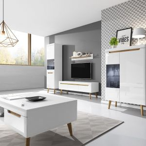 Białe meble do salonu z kolekcji Nirus dostępne w ofercie firmy Mirjan24. Cena: 2.774 zł. Fot. Mirjan24