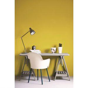 Szary to doskonały kolor bazowy, niezwykle popularny we wnętrzach od wielu sezonów. Żółty natomiast sprawdzi się jako pogodny i wyrazisty akcent kolorystyczny. Fot. Annie Sloan