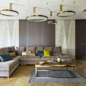 Niewielki dywan ociepla eleganckie wnętrze salonu. Projekt: Tissu Architecture. Fot. Yassen Hristov