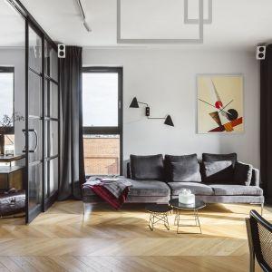 Ściana za kanapą w salonie wykończona jest farbą. Projekt: Magdalena Bielicka, Maria Zrzelska-Pawlak, Pracownia Magma. Fot. Kroniki - Hanna Połczyńska