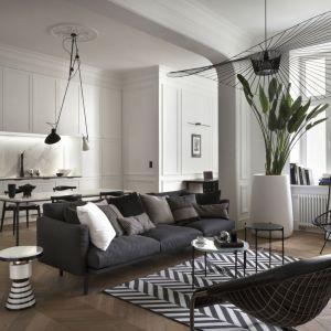 Pomysł na sofę w stylowym salonie - ciemnografitowa sofka w minimalistycznym stylu. Projekt: Goszczdesign. Fot. Piotr Mastalerz