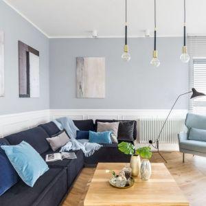 Kolory niebieskie warto połączyć w salonie z szarościami  - to zawsze sprawdzony duet. Projekt: Decoroom. Fot. Pion Poziom