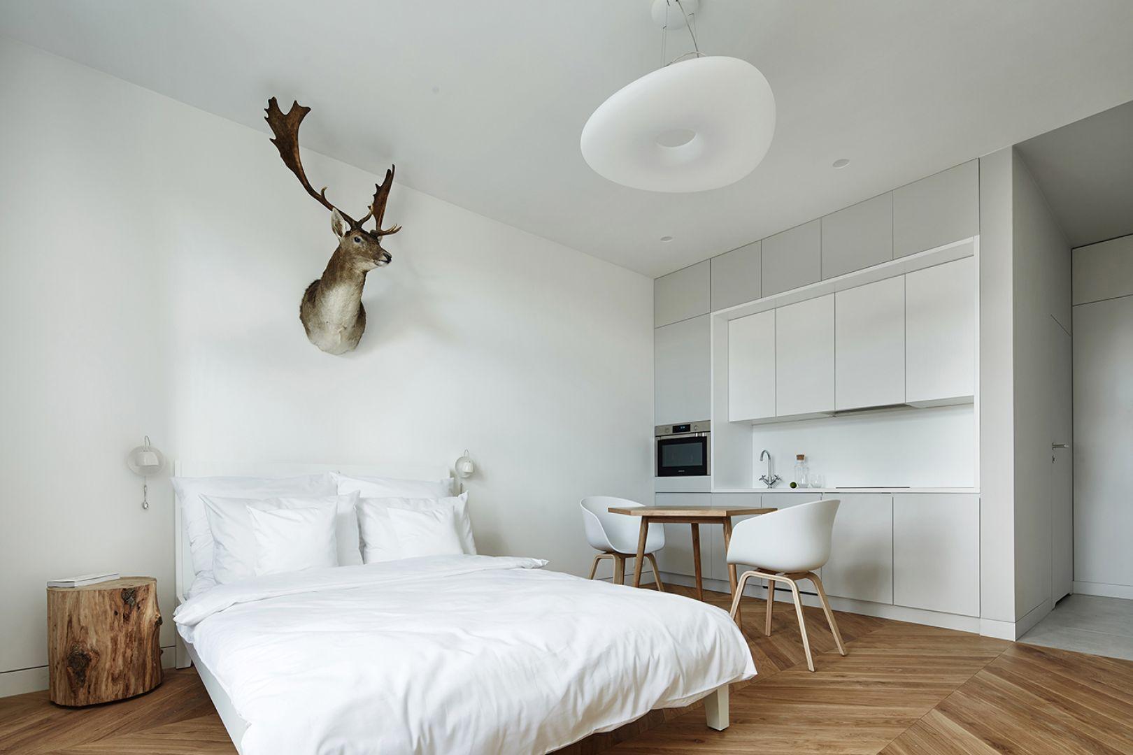 Mieszkanie o powierzchni 27 m2 zostało utrzymane w konwencji przytulnego minimalizmu. Projekt: Karol Ciepliński, Blackhaus. Fot. Bartłomiej Senkowski