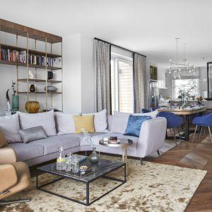 Jasny dywan wygląda bardzo efektowanie na ciemnej, drewnianej podłodze w salonie. Projekt: Joanna Kiryłowicz. Fot. Celestyna Król